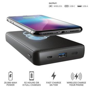 Външна батерия /power bank/ Trust Primo Wireless, безжично зареждане, 20000 mAh, черна image