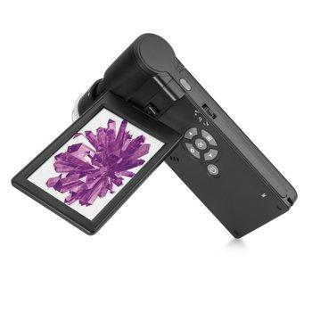 Цифров микроскоп Levenhuk DTX 700 Mobi, 8-300x увеличение (цифрово увеличение: 10–1200x), USB цифров, преносим микроскоп с екран с течнокристален дисплей и камера 5M image