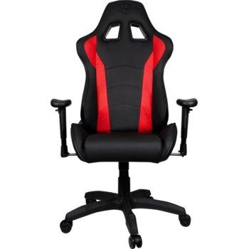Геймърски стол Cooler Master Caliber R1 (CMI-GCR1-2019R), еко кожа, регулируеми подлакътници, газов амортисьор, до 150 kg, черен/червен image