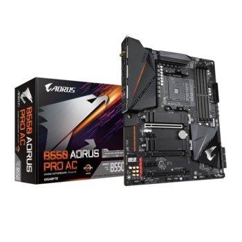 Дънна платка Gigabyte B550 AORUS PRO AC, AM4, B550, DDR4, PCI-E 4.0, (HDMI),(CFX), 6x SATA 6Gb/s, 2x M.2, USB Type-C, Wi-Fi, Bluetooth, ATX image