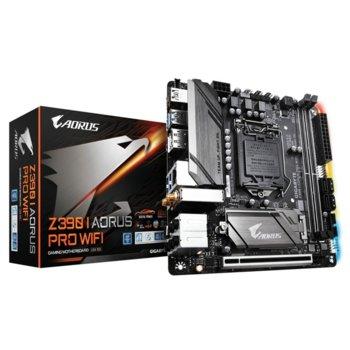 Дънна платка Gigabyte Z390 I AORUS PRO WIFI, Z390, LGA1151, DDR4, PCI-Е (HDMI&DisplayPort), 4x SATA 6Gb/s, 2x M.2 socket, USB Type-C, Wi-Fi, Bluetooth, Mini-ITX, RGB подсветка image