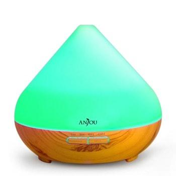Ароматизатор Anjou AD001 Light Wood, ултразвуково разпръскване, 8 часа продължителност на работа, капацитет на резервоара 300мл, авт.изключване при празен резервоар или таймер, 7 LED светлини, кафяв image