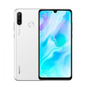 "Смартфон Huawei P30 Lite (бял), поддържа 2 sim карти, 6.15"" (15.62 cm) FHD дисплей, осемядрен Kirin 710 (4xCortex-A73 2.2GHz+4xCortex-A53 1.7GHz), 4GB RAM, 128GB Flash памет(+microSD слот), 48MP+8MP+2MP & 24 Mpix camera, Android 9.0, 159 g image"