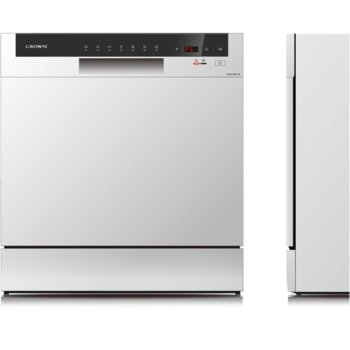 Съдомиялна Crown WQP8-3802F-W, енергиен клас А, 8 комплекта, 7 програми, 4 температури, таймер за отложен старт, водосъдържател от неръждаема стомана, цифров дисплей, бяла image