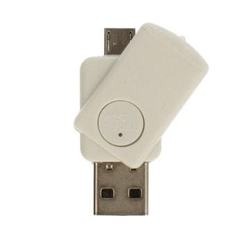 Четец за карти CR09, USB 2.0,/USB microB, microSD, бял image