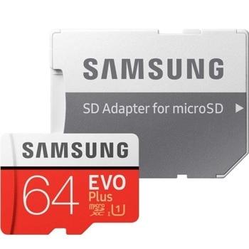 Карта памет 64GB microSDXC с адаптер, Samsung EVO+ MB-MC64HA/EU, скорост на четене 100MB/s, скорост на запис 20MB/s image