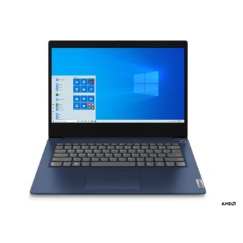 """Лаптоп Lenovo IdeaPad 3 14ADA05 (81W000FTRM)(син), четириядрен AMD Ryzen 7 3700U 2.3/4.0GHz, 14"""" (35.56 cm) Full HD TN Anti-Glare Display, (HDMI), 8GB DDR4, 512GB SSD, USB 3.2 Gen 1, FreeDOS, 1.6kg image"""