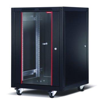 """Комуникационен шкаф Formrack SLV-20U60100, 19"""", 20U, 600 x 1000 x 1120, свободностоящ, товароносимост 600кг, 4 отвора за вентилатори в горната част, стъклена врата, черен image"""