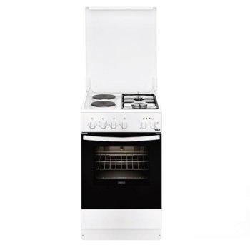 Готварска печка Zanussi ZCM540G1WA, клас A, 56л. обем, 2 газови котлона, 2 електрически котлона, бял image
