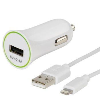 Зарядно за кола Vivanco 36277, 2.4A, с кабел USB A(м) към Lighning(м), за iPhone/iPad, 1m, бяло image
