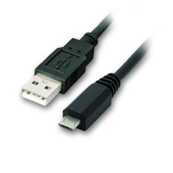 Кабел VCom CU271-1.8m, от USB-A(м) към MicroUSB(ж), 1.8m, черен image