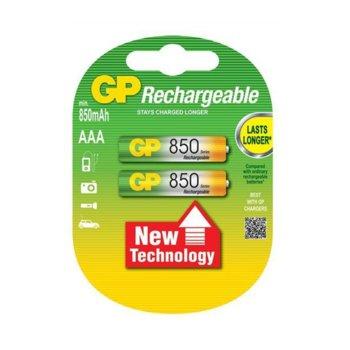 Акумулаторна Батерия GP AAA, NiMH, 1.2V, 850mAh, 2 бр. в опаковка image