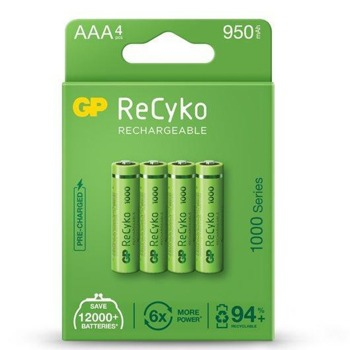 Акумулаторни батерии GP, R03, AAA, R03, 1.20V, 1000mAh, NiMH, 4 бр image
