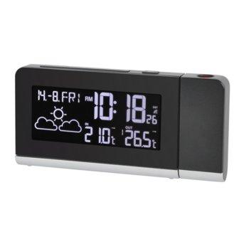 Електронна метеостанция Bresser Temeo MC, термометър, DCF радиоуправляем часовник, дата, измерване на вътрешната и външната температура, цветен дисплей, прогноза за време, 180 ° въртящ се стенен / таванен проектор, черна image