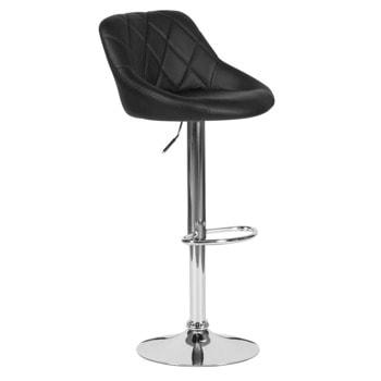 Бар стол Carmen 4020, до 100кг, еко кожа, хромирана база, газов амортисьор, коригиране на височината, черен image