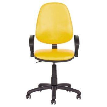 Офис стол Carmen Polo, еко кожа, полипропилен, с подлакътници, жълт image