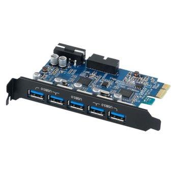 Контролер Orico PVU3-5O2I-V1, от PCIe 2.0 x1 към 5x USB 3.0(ж), 5.0 Gbit/s image