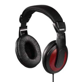 Слушалки Hama HK-5618, черни с червен кант image