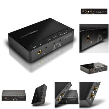 Външна звукова карта AXAGON ADA-71, 7.1, USB, 3.5 jack, MIC jack, черна image