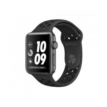 Смарт часовник Apple Watch Nike+ Series 3 GPS 38mm, 312 x 390 pix OLED Retina дисплей, 8GB памет, Wi-Fi, Bluetooth, Watch OS, водоустойчив, черен с черна каишка image