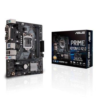 Дънна платка Asus PRIME H310M-D R2.0, H310, LGA1151, DDR4, PCI-Е (HDMI&VGA), 4x SATA 6Gb/s, 1x M.2,USB 3.1 Gen 1, mATX image