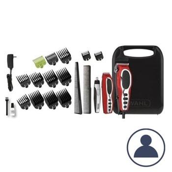 Комплект за подстригване Wahl CloseCut Combo (79520-5616), тример, тример за нос, самонаточващи ножчета, 6 приставки за подстригване, жична, аксесоари, червен image