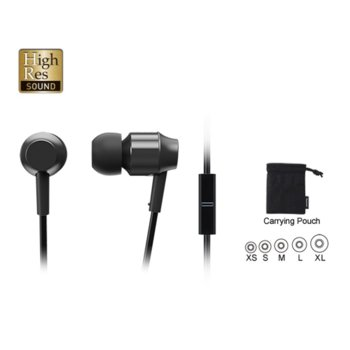 Слушалки Panasonic RP-HDE3ME-K, микрофон, 3.5mm жак, черни image