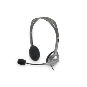 Слушалки Logitech H110, микрофон, сиви image