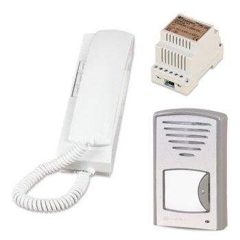 Комплект еднофамилна аудиодомофонна система Farfisa 1CKD, едноабонатна, стенен монтаж, двужилен кабел, бяла image