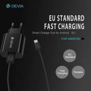 Зарядно устройство Devia, от контакт към microUSB(м), 1A, черно image