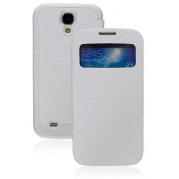 Калъф за Samsung SIV mini, отваряем с прозорец, еко кожа, DeTech-50593 Vollter, бял image