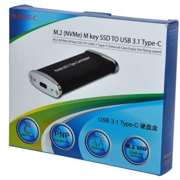 Кутия Makki Case М Key M.2 2280, за M.2 SSD, USB към USB 3.0, черна image