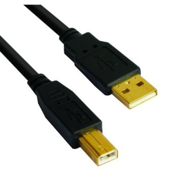 Кабел VCom CU201G-B-5m, USB A(м) към USB B(м), 5m, позлатени конектори image