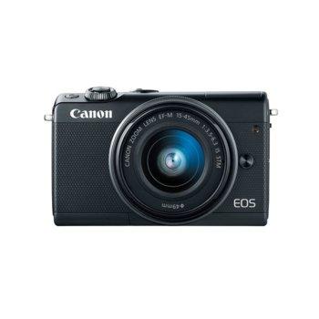"""Фотоапарат Canon EOS M100 (черен) в комплект с обектив EF-M 15-45mm f/3.5-6.3 IS STM и подарък Lexar 32GB Professional HDHC Memory Card, 24.2 Mpix, 3,0"""" (7.62 cm) сензорен TFT дисплей, Bluetooth 4.1, Wi-Fi/NFC, SD/SDHC/SDXC слот, USB image"""