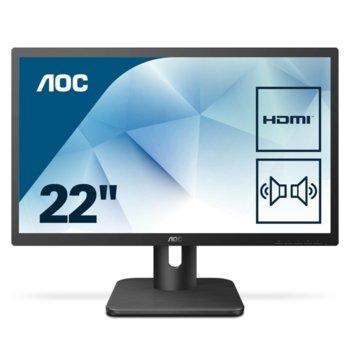 """Монитор AOC 22E1D, 21.5""""(54.61 cm) TN панел, Full HD, 2ms, 20M:1, 250 cd/m2, HDMI, VGI, DVI image"""