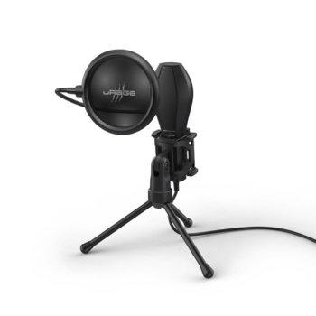 Микрофон Hama uRage Stream 400 Plus, USB, със стойка, с поп-филтър, омнидиректен, черен image