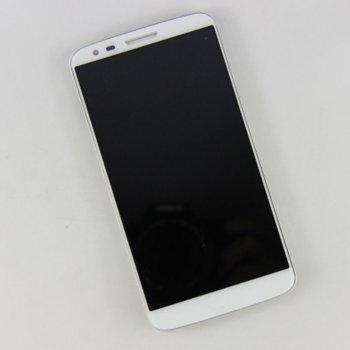 Дисплей за LG G2 D802, LCD, с тъч, с рамка, бял, черен image