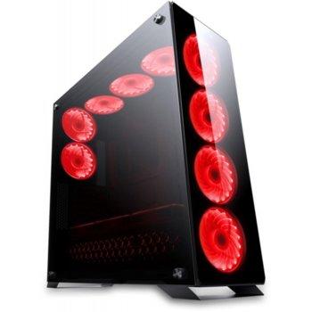 Кутия Redragon Ironhide, ATX/mATX, 2x USB 3.0, с прозорец, черна/червена, без захранване image