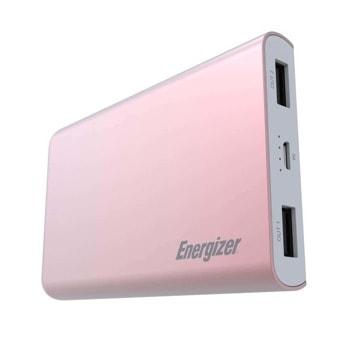 Външна батерия/power bank/ Energizer HighTech (UE8003_RG), 8 000mAh, розова, 2x USB-A, 1x Micro USB image