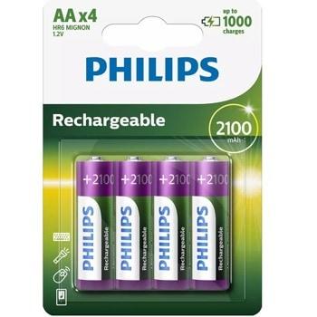 Акумулаторна батерия Philips Rechargeable R6B4A210/10, AA, 1.2V, 2100mAh, NiMH, 4бр. image