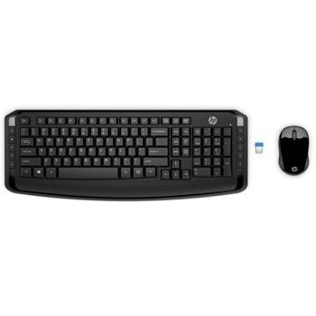 Комплект клавиатура и мишка HP Wireless Keyboard and Mouse 300, безжични, USB, черни image