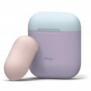 Калъф за слушалки Elago Duo Silicone Case EAPDO-LV-PBLLPK, за Apple AirPods, силиконов, лилав image