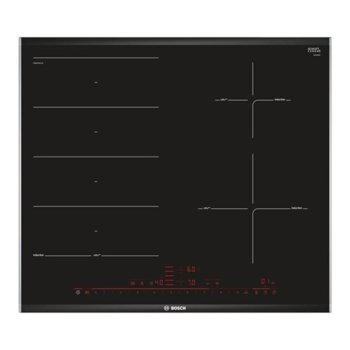 Стъклокерамичен плот за вграждане Bosch PXE 675 DC 1E, 4 нагревателни зони, TopControl дисплей, PerfectFry сензор, черен image
