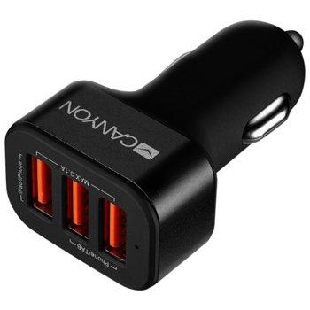Зарядно устройство за кола Canyon CNE-CCA06B от автомобилна запалка към 3x USB А(ж), 5V/3.1A, черно image