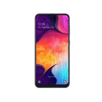"""Смартфон Samsung Galaxy A50 (SM-A505F) (черен), поддържа 2 sim карти, 6.4"""" (16.25 cm) FHD+ Super AMOLED дисплей, осемядрен Exynos 9610 2.3GHz, 4GB RAM, 128GB Flash памет (+ microSD слот), 25.0 MPix + 8.0 MPix + 5.0 MPix & 25.0 MPix камера, Android image"""