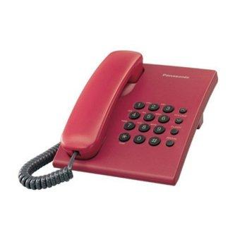 Стационарен телефон Panasonic KX-TS500, бутон за повторно набиране, високоговорител, червен image