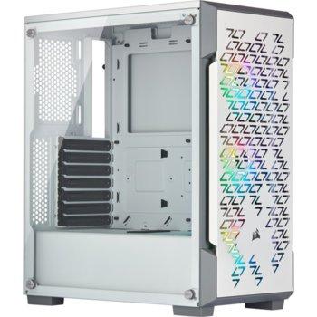 Кутия Corsair iCUE 220T RGB Airflow (CC-9011174-WW), ATX, 2x USB 3.0, 1x 3.5mm жак, прозорец, бяла, без захранване image