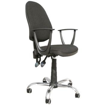 Работен стол Galant C11, до 120кг, дамаска, метална база, коригиране височина, двулостов механизъм за регулиране наклона и височината на облегалката, заключване в позиция, черен image