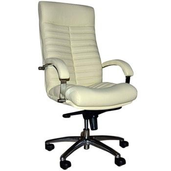Директорски стол Orion Steel, до 120кг, естествена кожа, хромирана база, коригиране височина, мултиблок механизъм, антишок система, бежов image
