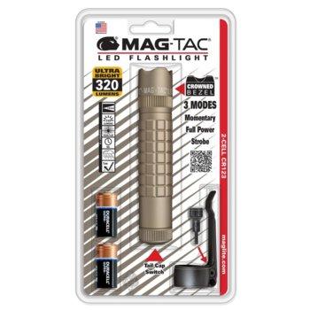 Фенер MAGTAC LED Crowned Bezel, 2x батерии CR123, 320lm, водоустойчивост, блистер, бежов image